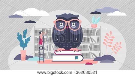Wise Owl Vector Illustration. Knowledge Symbol Flat Tiny Persons Concept. Library Books Education Fo