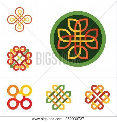 Pattern Icon Set. Hexagon Infinite Knot Traditional Knot Chinese Amulet Round Creative Pattern Squar