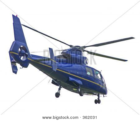 Isolated Blue Helicopter