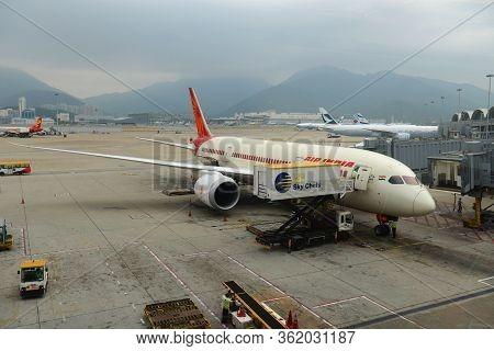 Hong Kong - Nov. 9, 2015: Air India Boeing 787-800 At Hong Kong International Airport Chek Lap Kok A