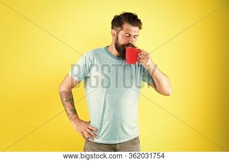 His Perfect Breakfast. Water Balance And Health Care. Bearded Man Enjoy Morning Routine. Sip Of Ener