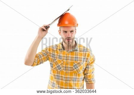 Guy In Trouble. Renovation Concept. Planning Changes Renovation. Foreman With Documents. Supplies De