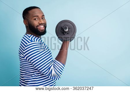 Profile Photo Of Cool Funny Handsome Dark Skin Guy Lifting Heavy Dumbbell Weight Practicing Hard Gym