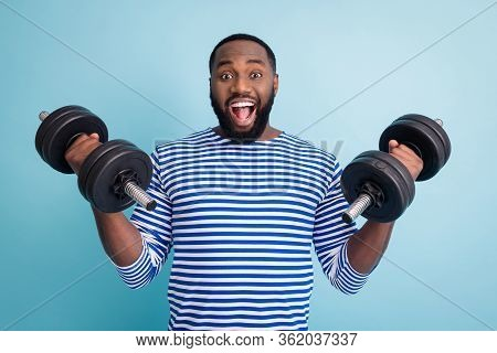Photo Of Cool Funny Handsome Dark Skin Guy Open Mouth Lifting Two Heavy Dumbbells Weight Practicing