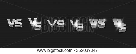 Set Of Metal Versus Logo In Sport Style Vs Letters For Sports And Fight Competition. On Dark Backgro