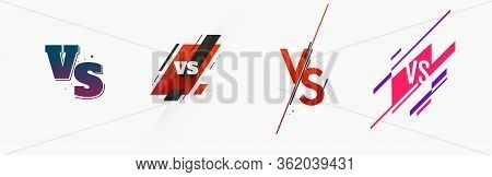 Set Of Different Versus Logo Vs Letters For Sports And Fight Competition. Mma, Battle, Vs Match, Gam