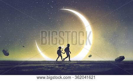 Night Scenery Showing A Brother And Sister Holding Hands Walking Above The Sky With The Crescent In