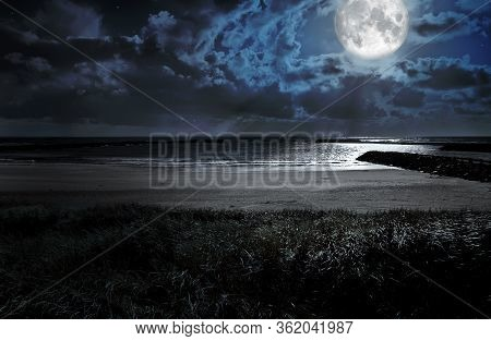 Scenery Coast Night Moon Clouds Nature Photo. Landscape Photography, Night Time. Night Moon Lights.