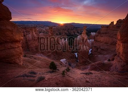 Panoramic View Of Amazing Hoodoos Sandstone Formations In Scenic Bryce Canyon National Park In Beaut