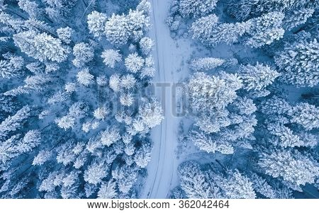 Aerial Drone View Of Road In Idyllic Winter Landscape. Street Running Through The Nature From A Bird