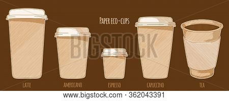 Paper Cups With Hot Drinks Coffee And Tea, Hand Drawn Sketch