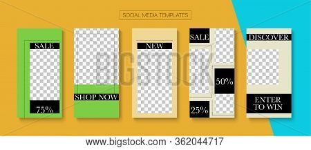 Social Stories Cool Vector Layout. Online Shop Rich Vip Graphic Mobile. Blogger Simple Design, Socia