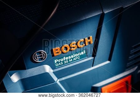 Strasbourg, France - Feb 9, 2020: Logotype Of Bosch Professional Gas 35 M Class Afc With Automatic F