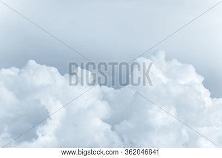 White Big Fluffy Clouds. Natural Scenic Abstract Background. Weather Changes Backdrop. Sky Filled Wi