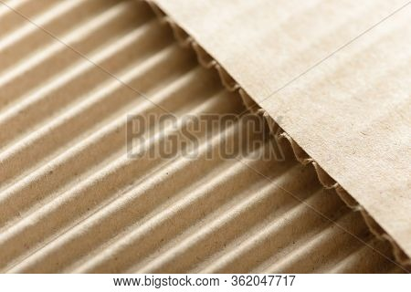 Carton Or Cardboard Packing Material. Texture Of Corrugated Paper Sheets Made From Cellulose. Suppli