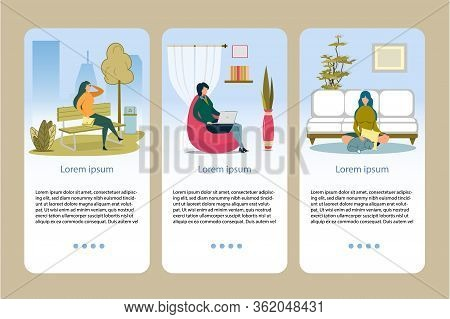 Woman In Different Scenes Web Pages Flat Cartoon Vector Illustration. Woman Sitting On Bench In Park