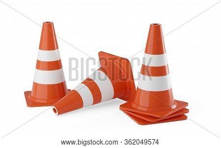 Orange Traffic Warning Cones Or Pylons On White Background - Under Construction, Maintenance Or Atte