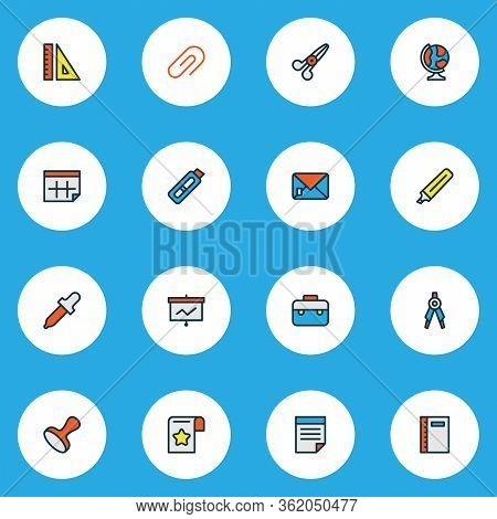 Stationary Icons Colored Line Set With Ruler, Marker, Notebook And Other Letter Elements. Isolated V