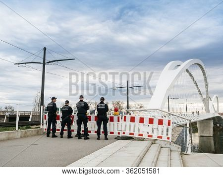 Kehl, Germany - Mar 16, 2020: German Polizei Police Officers Checks Traffic At The Border Crossing I