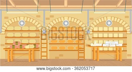 Cheese Cellar With Modern Equipment For Storage. Modern Cellar For Storing Different Type Cheese. Th