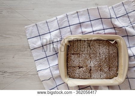Homemade Tasty Applesauce Cake On A White Wooden Background, Top View. Flat Lay, Overhead, From Abov