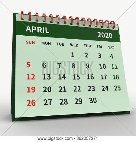 Standing Desk Calendar April 2020. Business Monthly Calendar With Red Spiral Bound, Week Starts On S