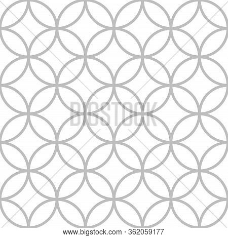 Colorful Abstract Round Geo Seamless Pattern. Thin Line Circle Geometric Background. Vector Illustra