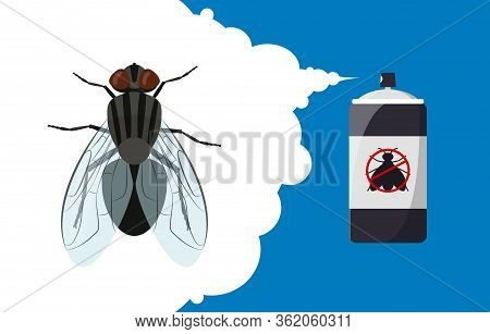 Insect Repellent Banner Concept. Fly Repellent Aerosol. Pest, Insect And Bug Control Spray Bottle. C