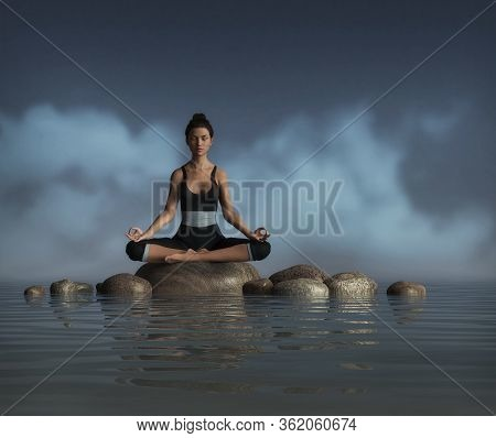Beautiful Young Woman Does A Sitting Meditation And Yoga Pose On A Rock In The Water, Joins The Glor