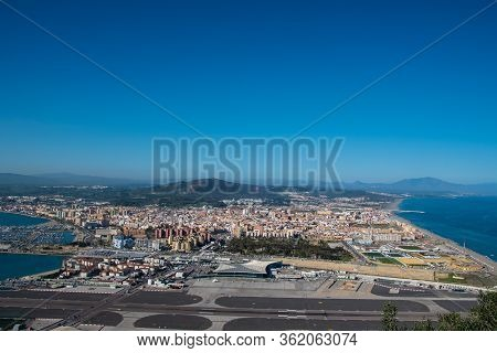 Gibraltar, United Kingdom, February 20, 2020:-the Town Of Gibraltar Viewed From Up The Rock. Gibralt