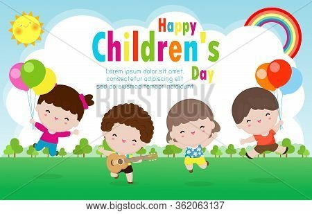 Happy Children  Day Poster With Happy Kids Greeting Card Background Vector Illustration Internationa