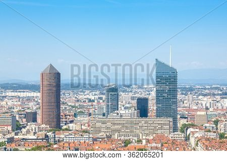 Aerial Panoramic View Of Lyon With The Skyline Of Lyon Skyscrapers Visible In Background. Lyon Is Th