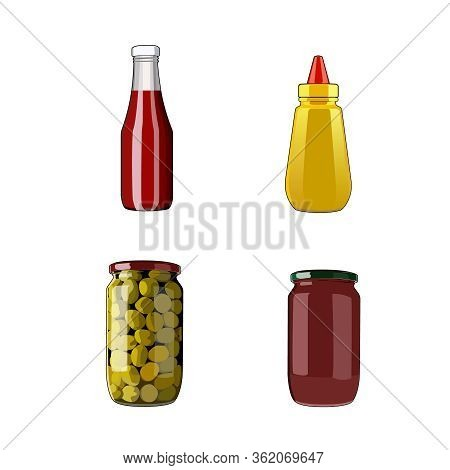 Seasoning Sauce Set. Tomato Ketchup, Mustard, Bolognese Sauce, Olives In Jar. Food Ingredients. Vect