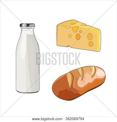 Milk In Glass Bottle. Fresh Baked Crusty Bread. Yellow Swiss Slice Of Cheese. Cheddar Cheese With Ho