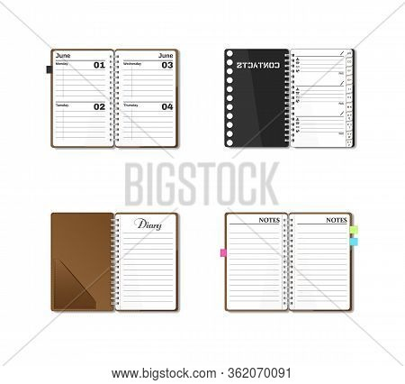 Open Pocket Diary, Notebook, Notepad, Organizer, Journal, Phone Book, Sketch Pad. Stationery Book Se