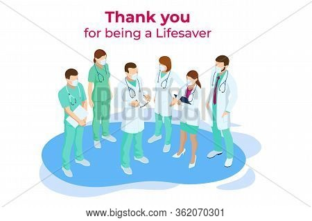 Isometric Concept Of Thank You Doctors And Nurses Working In The Hospitals And Fighting The Coronavi