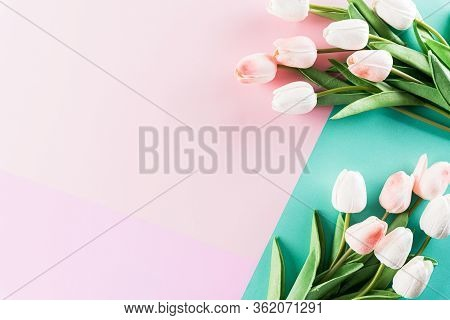 Happy Mother's Day, Women's Day Or Valentine's Day Greeting Concept. Pastel Colours Background With