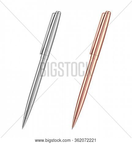 Metal and gold pen isolated on white background. 3d rendering