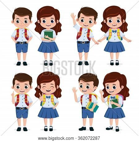 School Students Characters Set. Student Kids Classmates Character For Back To School In Standing Pos