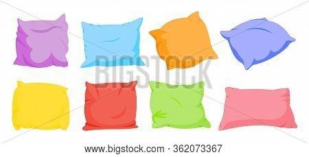 Rainbow Pillow Flat Cartoon Set. Home Interior Soft Textile. Seven Color Square Pillows Mockup Templ