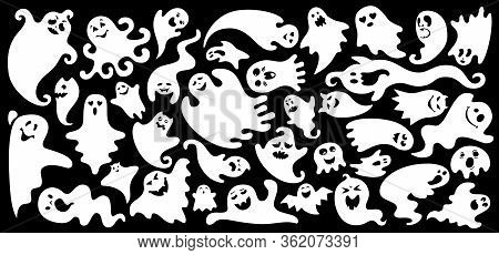 Ghost Flat Cartoon Set. Simple Halloween Collection Cute And Scary Ghostly Monsters. Joyful Spooky O