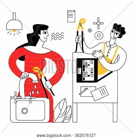 Vector Flat Abstract Illustration Of Woman Trying To Fix Faucet By Consulting Locksmith, Plumber Ove