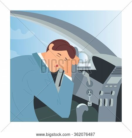 Tired Or Drunk Man Sleeping At The Wheel Of His Car. Sleepy People  While Driving As A Result Of Ins