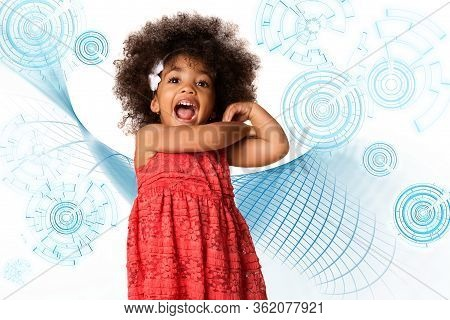 Childhood And People Concept-cheerful Happy African American Little Girl Over Technology Symbol Back