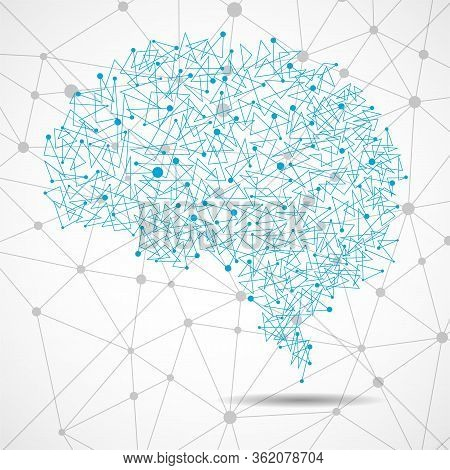 Abstract Human Brain Of Dots And Lines, Polygonal Structure, Vector Illustration Eps 10