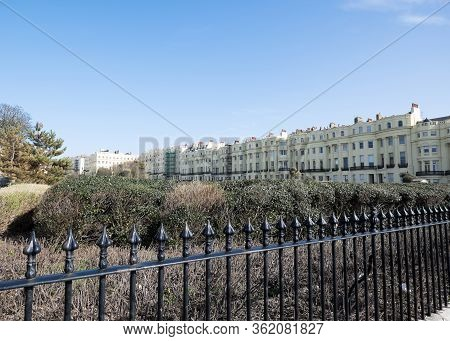 Brighton, Sussex, United Kingdom - March 9, 2020: View Over Brunswick Square Terraced Regency Era Ap