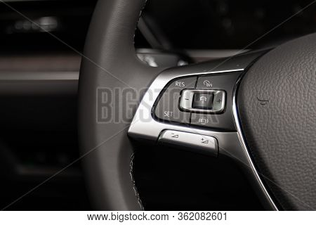 Novosibirsk/ Russia - March 09 2020: Volkswagen Touareg, New Black Steering Wheel With Multifunction