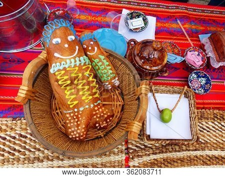 Bread Guagua De Pan Or Ecuadorian Bread Figures. Breads Made Of Wheat, Molded And Decorated In The S