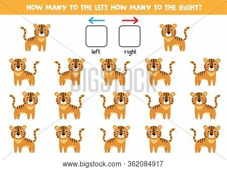 How Many Tigers Go To The Left And How Many To The Right. Educational Game For Kids.