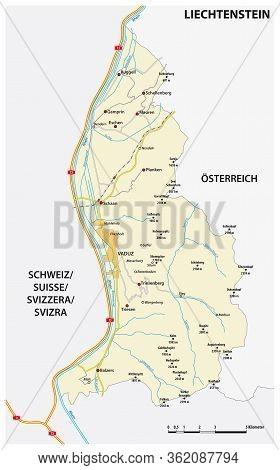 Vector Road Map Principality Of Liechtenstein In German Language